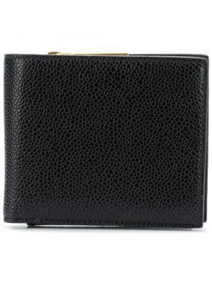 Czarny portfel skórzany w paski Thom Browne