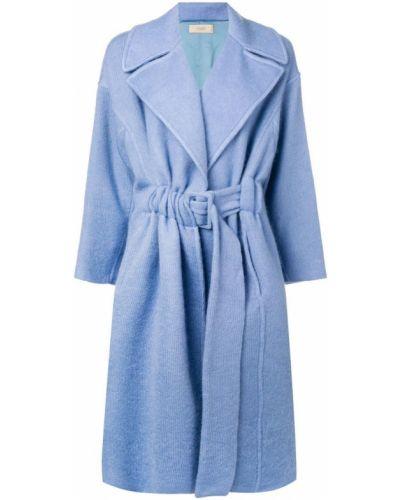 Синее длинное пальто с капюшоном из мохера Maison Flaneur
