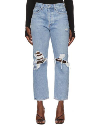 Bezpłatne cięcie srebro prosto jeansy o prostym kroju z kieszeniami Agolde