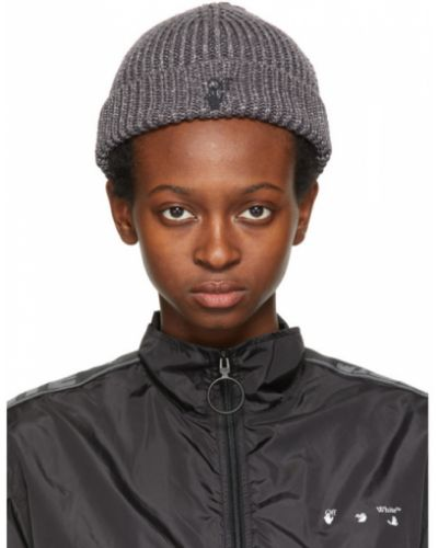 Хлопковая черная шапка бини с вышивкой Off-white