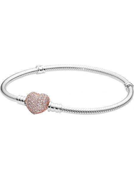 Белый золотой браслет с подвесками с камнями металлический Pandora
