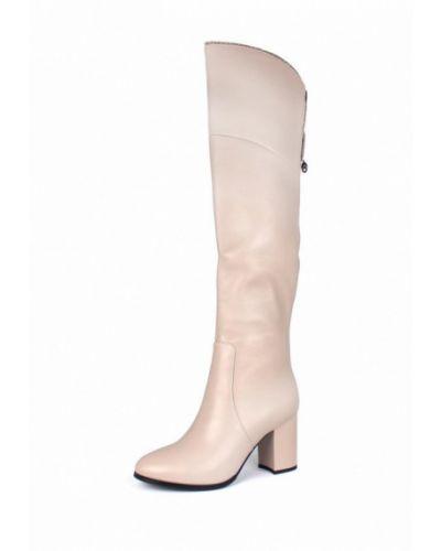 Ботфорты на каблуке кожаные бежевые Blizzarini