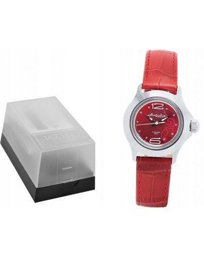 Czerwony klasyczny zegarek mechaniczny srebrny Vostok