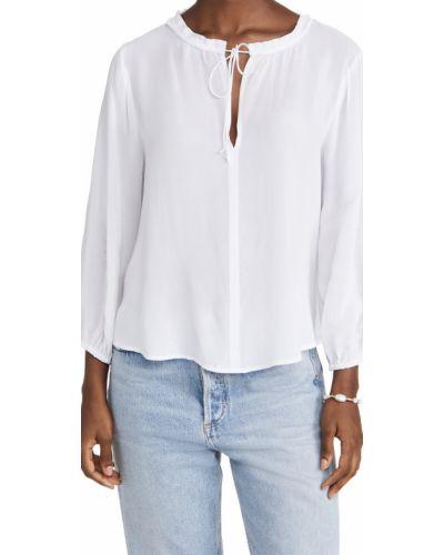 Biała bluzka z długimi rękawami z wiskozy Velvet