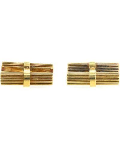 Żółte prążkowane złote spinki do mankietów Van Cleef & Arpels Pre-owned