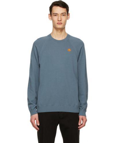 Синий длинный свитер с воротником с вышивкой Kenzo