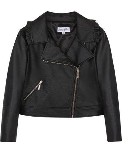 Кожаная куртка черная на молнии Simonetta