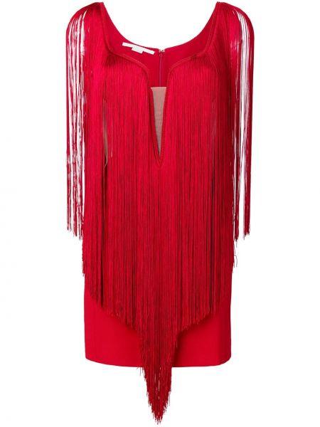 Красное шелковое платье мини с бахромой на молнии Stella Mccartney