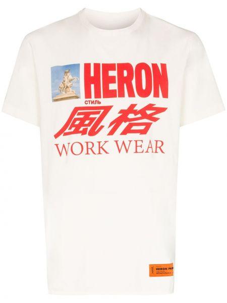 Белая вязаная футболка свободного кроя с вышивкой Heron Preston