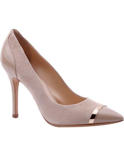 Замшевые туфли кожаные бежевый Baldinini