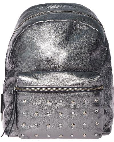 Рюкзак на молнии серебряный Di Gregorio