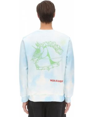 Prążkowany niebieski sweter bawełniany 032c