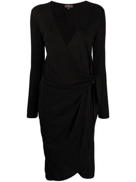 Кашемировое черное платье с рукавами с запахом с V-образным вырезом N.peal