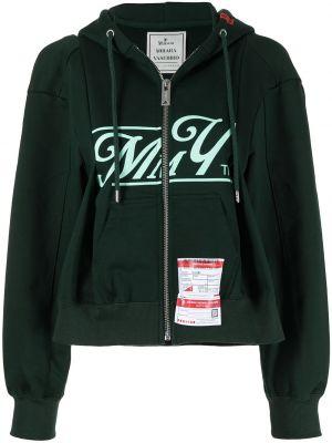 Зеленая ватная длинная куртка с капюшоном Maison Mihara Yasuhiro
