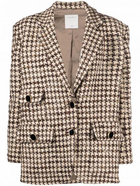 Коричневый пиджак с лацканами Sandro Paris