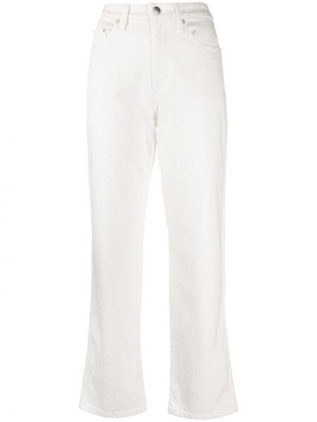 Хлопковые белые укороченные джинсы с поясом на молнии Simon Miller