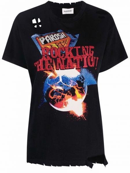 Черная футболка с бахромой P.a.r.o.s.h.