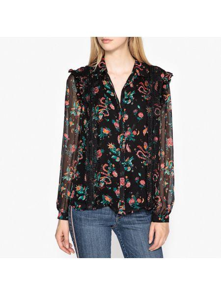 Черная рубашка с воротником прозрачная на пуговицах Berenice