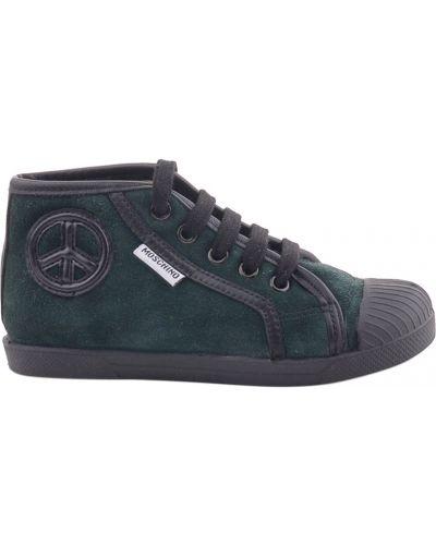 Кеды зеленый кожаный Moschino