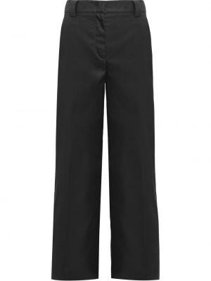 Черные прямые брюки из габардина с высокой посадкой Prada