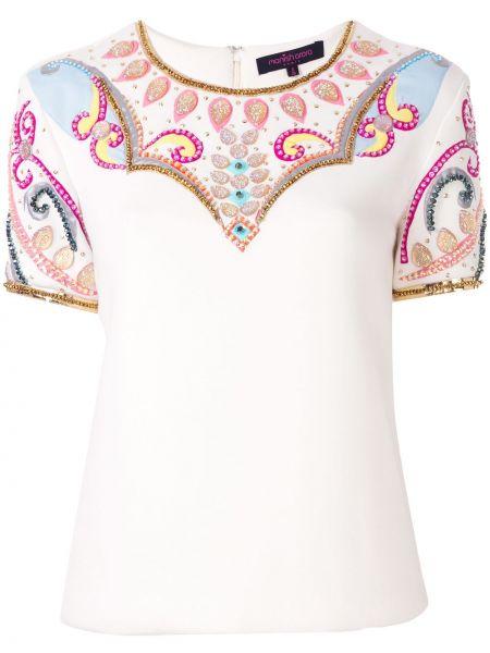 Прямая рубашка с коротким рукавом айвори с вышивкой с лебяжьим пухом Manish Arora
