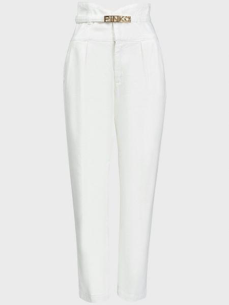 Хлопковые белые джинсы на молнии Pinko