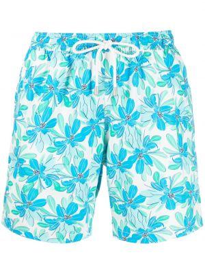 Niebieskie spodenki do pływania z printem w kwiaty Bluemint