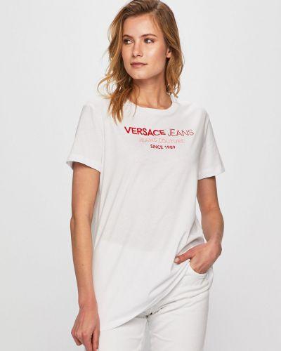 Футбольная футболка со стразами с декольте Versace Jeans