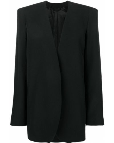 Костюмный черный удлиненный пиджак с воротником Lemaire