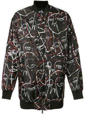 Czarna długa kurtka z nylonu z długimi rękawami Haculla