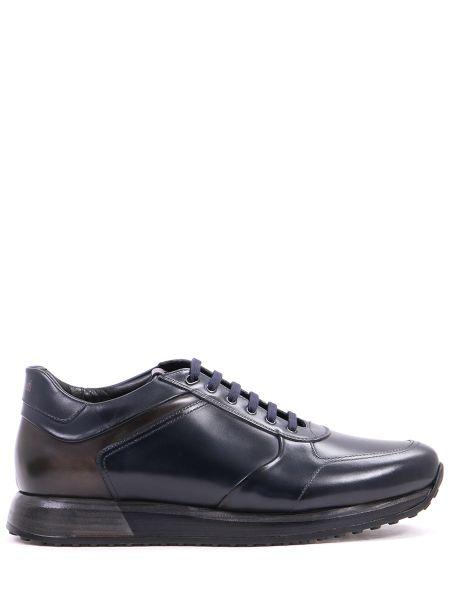 Кожаные синие кроссовки на толстой подошве на шнуровке Franceschetti