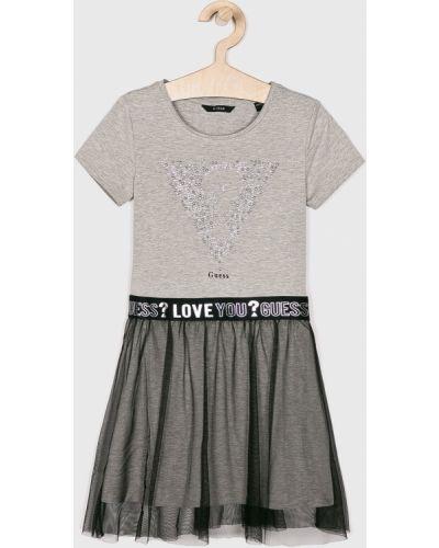 Платье с рукавами короткое хлопковое Guess Jeans