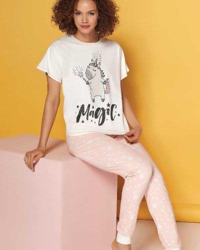 Пижамная пижама с брюками с надписью Sevim
