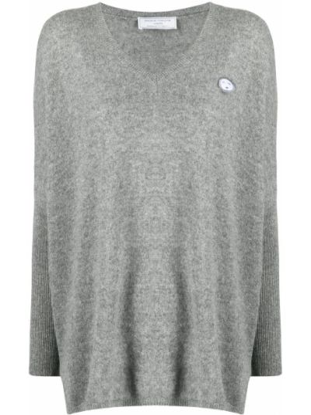 Серый кашемировый длинный свитер с вырезом SociÉtÉ Anonyme