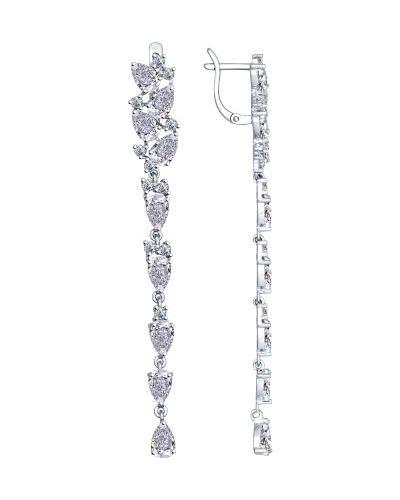 Серебряные серьги удлиненные с фианитом Sokolov