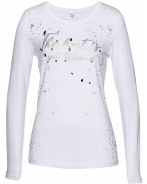 Блузка с длинным рукавом со стразами белая Bonprix