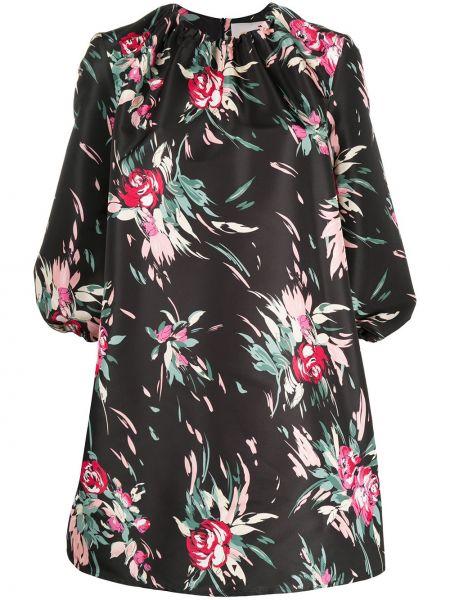 Прямое черное платье в цветочный принт La Doublej