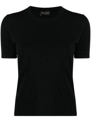 Черная футболка с вырезом с короткими рукавами Roberto Collina