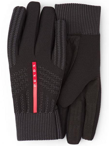 Ciepłe czarne rękawiczki Prada