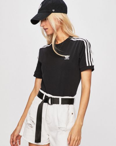 Футболка черная облегающая Adidas Originals