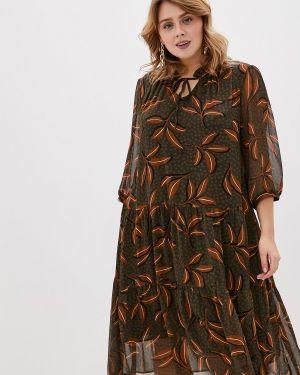 Повседневное платье осеннее хаки Intikoma