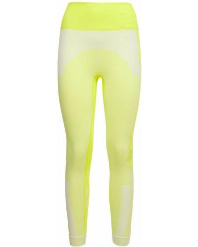 Prążkowane żółte rajstopy bezszwowe Adidas By Stella Mccartney