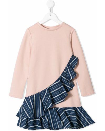 Хлопковое розовое платье с рукавами с длинными рукавами Owa Yurika