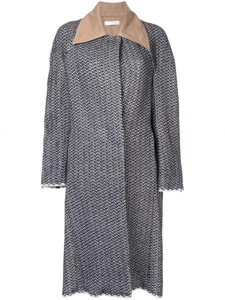 Черное однобортное свободное кожаное пальто на пуговицах Litkovskaya