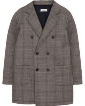 Текстильное повседневное пальто двубортное с подкладкой Paolo Pecora Milano