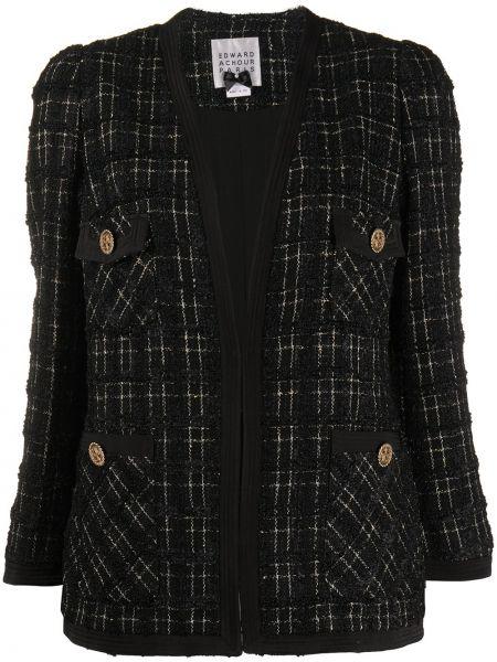 Черный приталенный удлиненный пиджак твидовый Edward Achour Paris