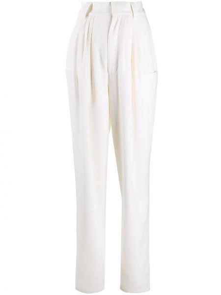 Зауженные шерстяные белые брюки Alessandra Rich
