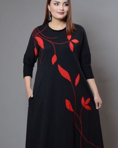Трикотажное платье миди - черное Avigal (avrora)