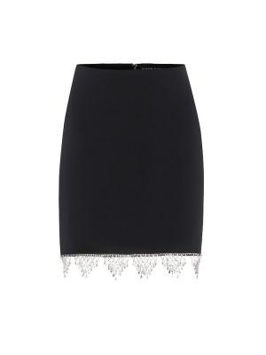 Плиссированная черная юбка мини из вискозы David Koma