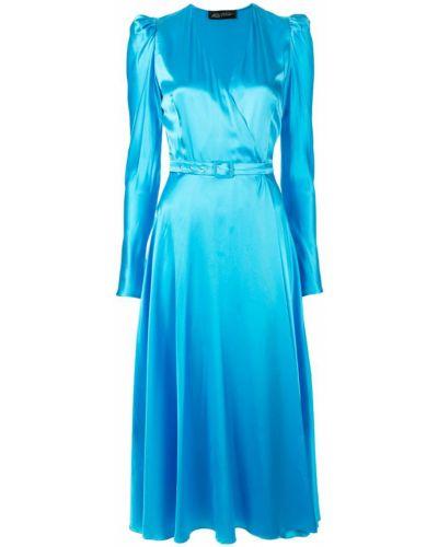 Платье миди на запах - синее Anna October